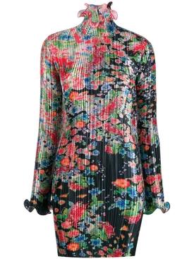 ruffled floral mini dress