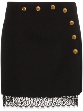 Button embellished mini skirt