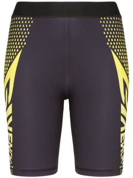 Givenchy - Logo Print Cycling Shorts Black/yellow - Women