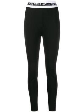 Black and white logo waistband leggings