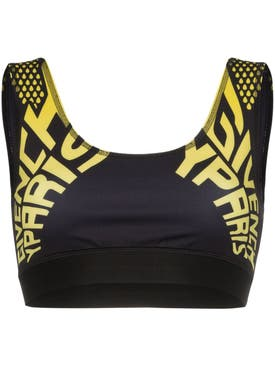 Givenchy - Logo Print Sports Bra Yellow - Women