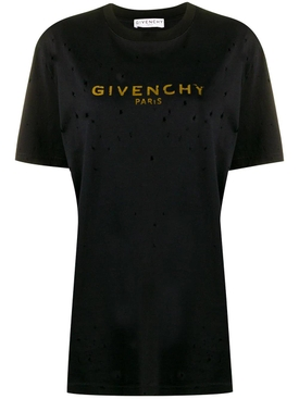 Givenchy - Black & Gold Distressed Logo T-shirt - Women
