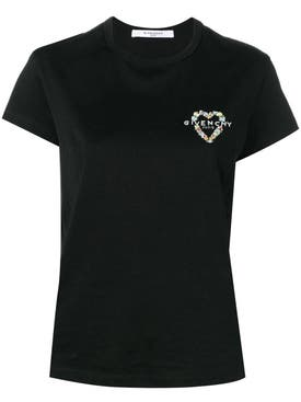Givenchy - Floral Heart Logo T-shirt Black - Women