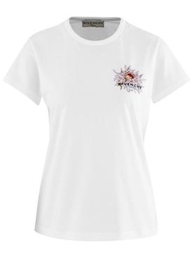floral logo cap sleeve t-shirt