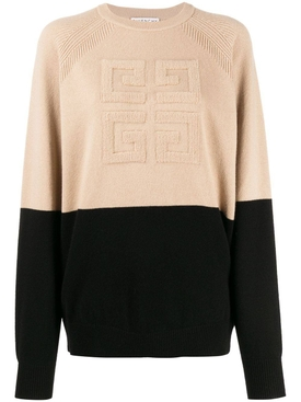 Two-tone logo cashmere sweater NEUTRAL