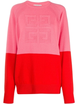 Two-tone logo cashmere sweater PINK