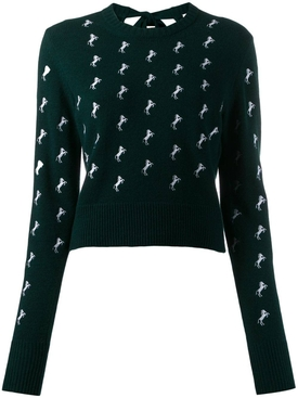 Dark Pine horse embroidered jumper