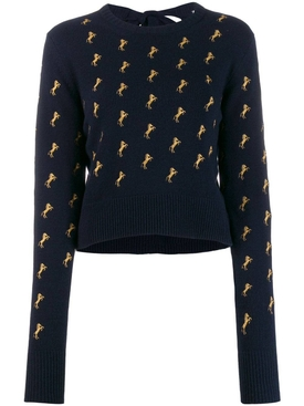 Evening Blue horse embroidered jumper