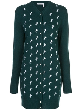 Dark Pine Green Horse Embroidered Cardigan Dress