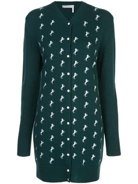 Chloé - Dark Pine Green Horse Embroidered Cardigan Dress - Women