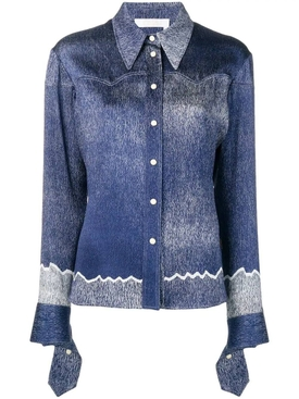 Denim print Silk blouse