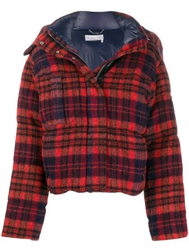Chloé - Red Check Print Puffer Jacket - Women