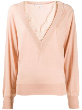Chloé - Pink V-neck Lace Knit Top - Women