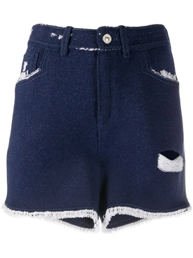 Distressed dark blue denim shorts
