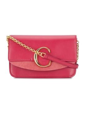 scarlet pink C ring crossbody bag