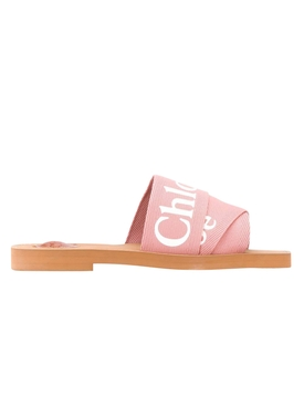 Pink woody logo slide sandals