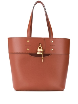 Aby leather tote bag, Sepia Brown
