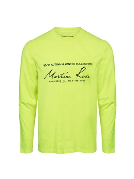 Martine Rose - Florescent Yellow Long Sleeve Logo T-shirt - Men