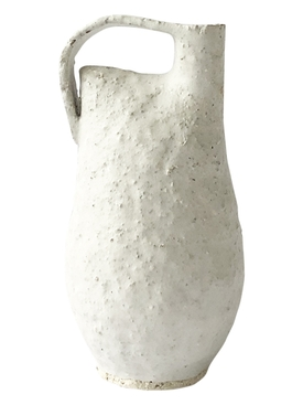 Tall Bottle in mortar stoneware, white glaze
