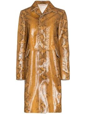 snakeskin-print coat