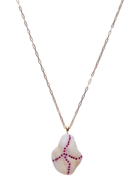 criss-cross stone & ruby necklace