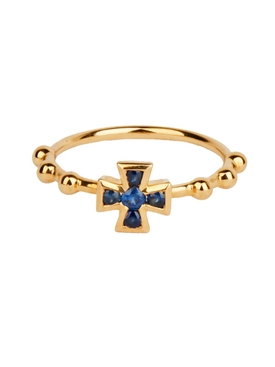 BLUE SAPPHIRE BAROQUE BOULES CROSS RING
