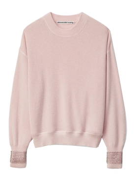 Crewneck sweater with Crystal Cuff PINK