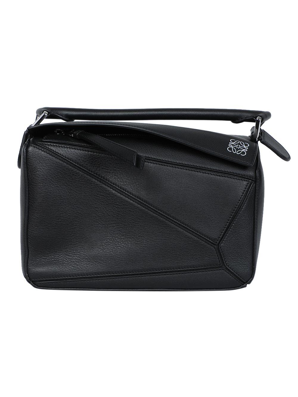 Black Pebbled Puzzle Bag