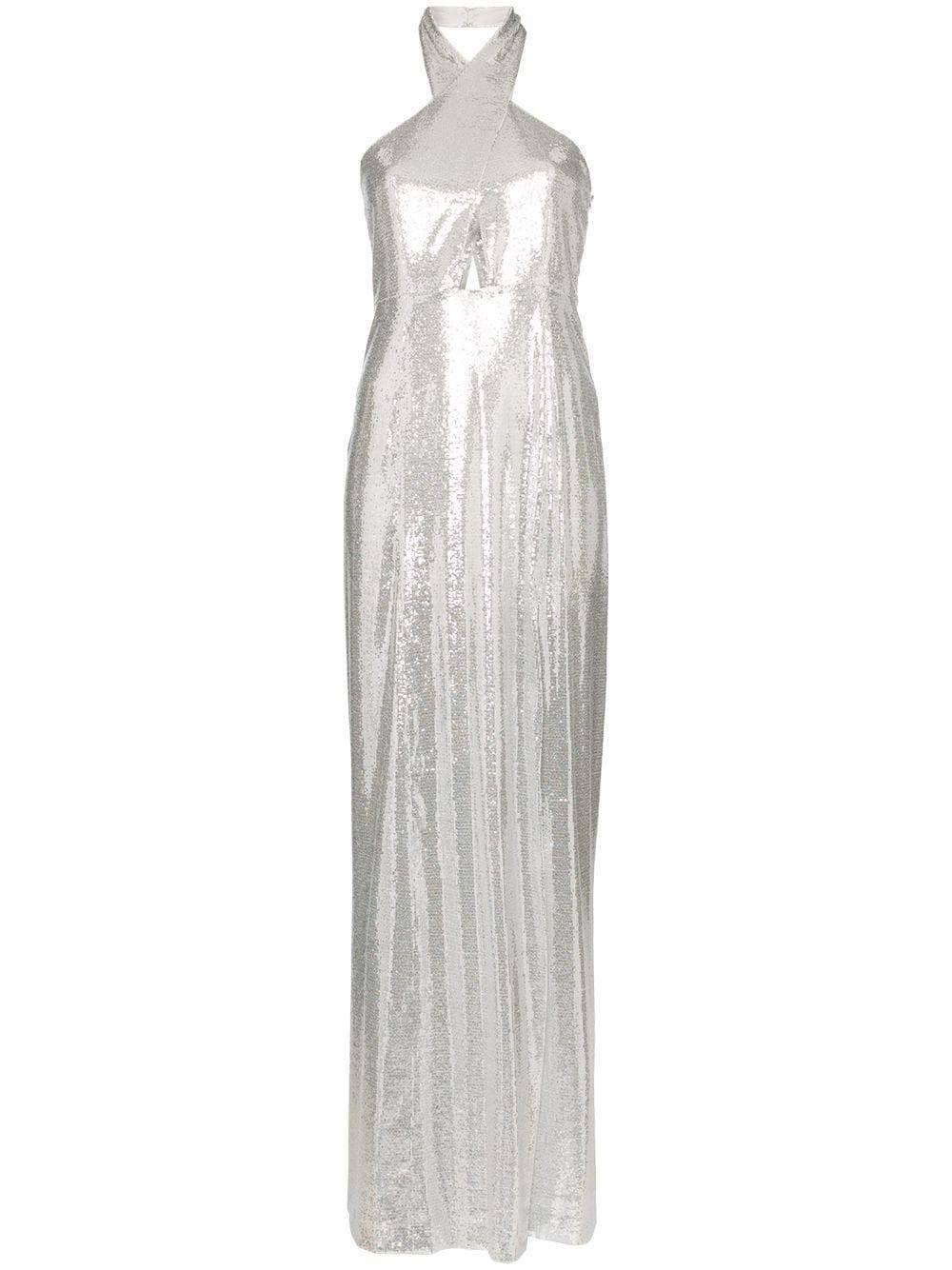 Silver Sequin Halter Maxi Dress