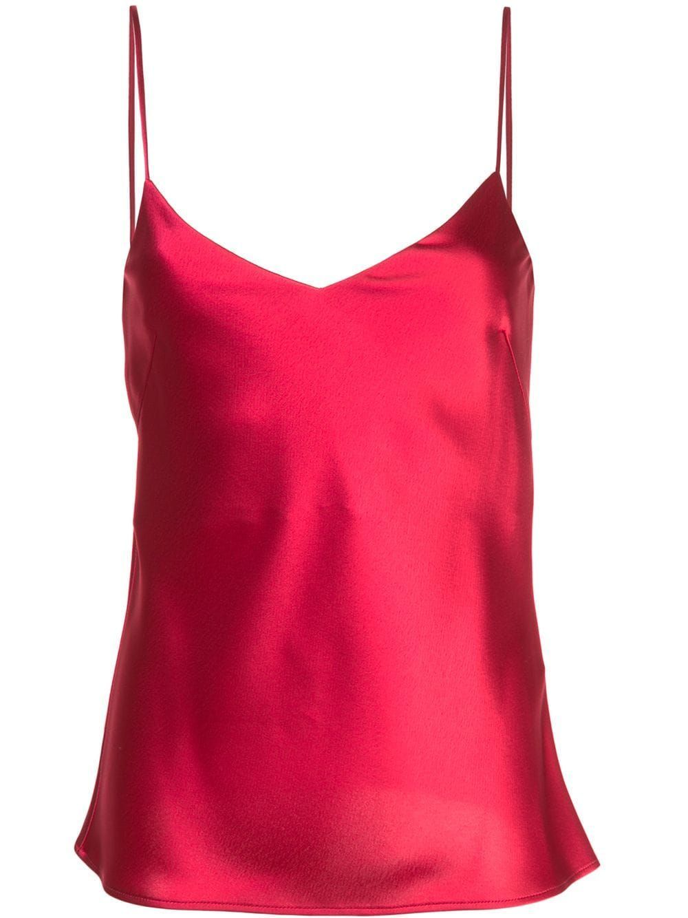 Raspbery Red Satin V-neck Camisole