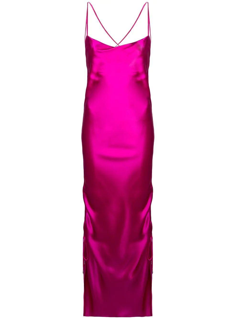Yasmin Midi Slip Dress Fuchsia
