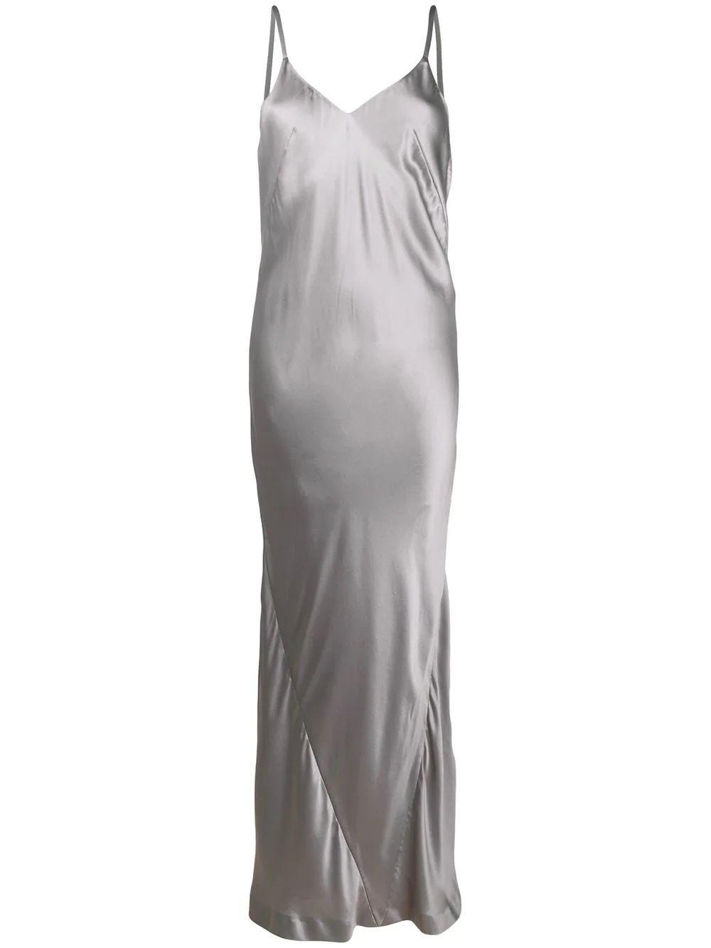 Haider Ackermann GREY SILK SLIP MAXI DRESS