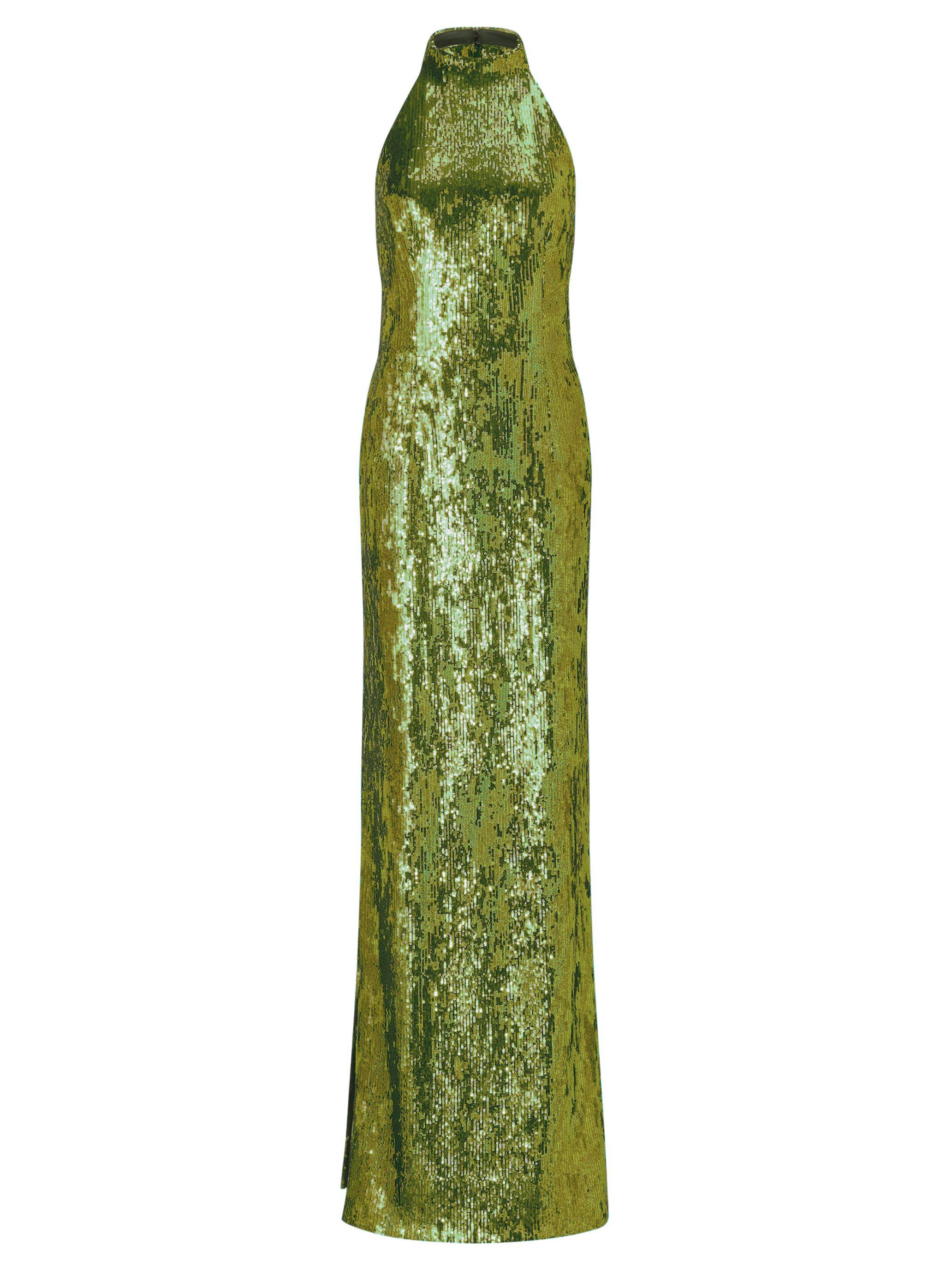 Olive Green Sequin Oceana Gown