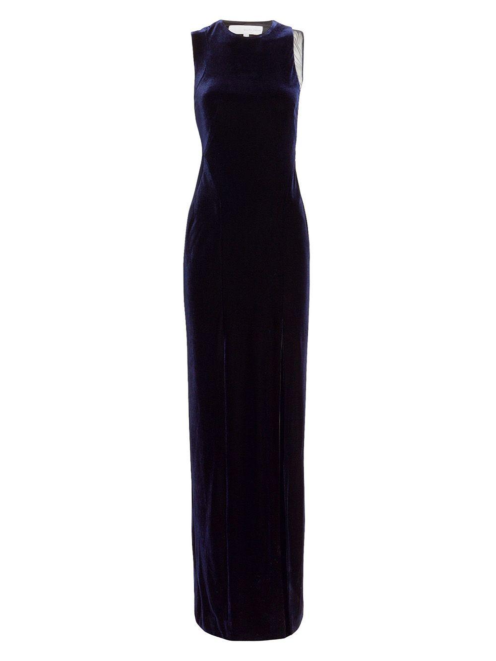 Sheer Panel Velvet Crescent Dress