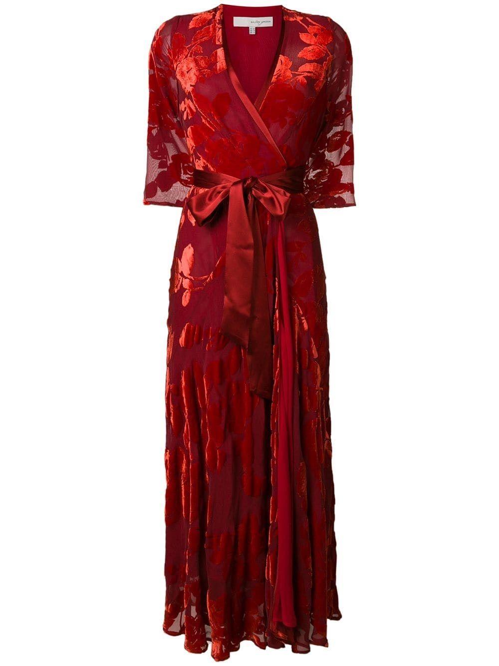 Rose Velvet Wrap Dress