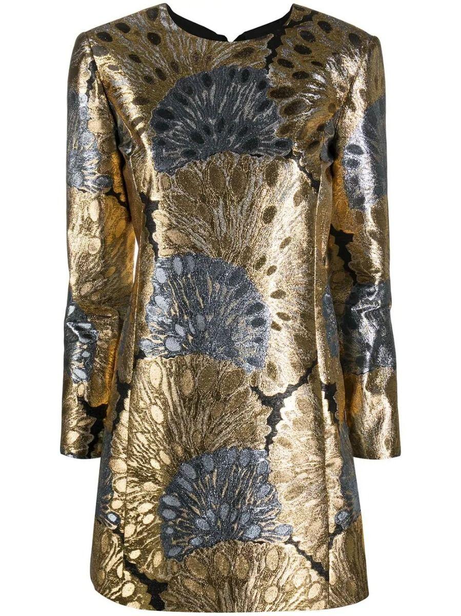 Saint Laurent GOLD AND SILVER METALLIC EFFECT SHIFT DRESS