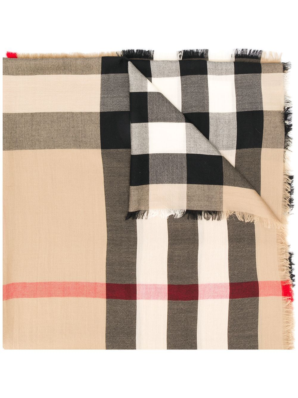 Burberry Giant Check Oversize Reversible Cashmere Scarf In Archive Beige