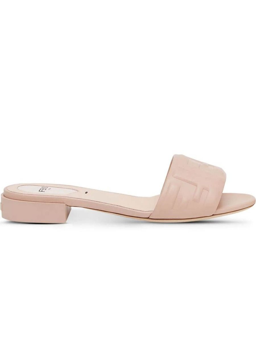 Fendi TAN FF LEATHER EMBOSSED SANDAL