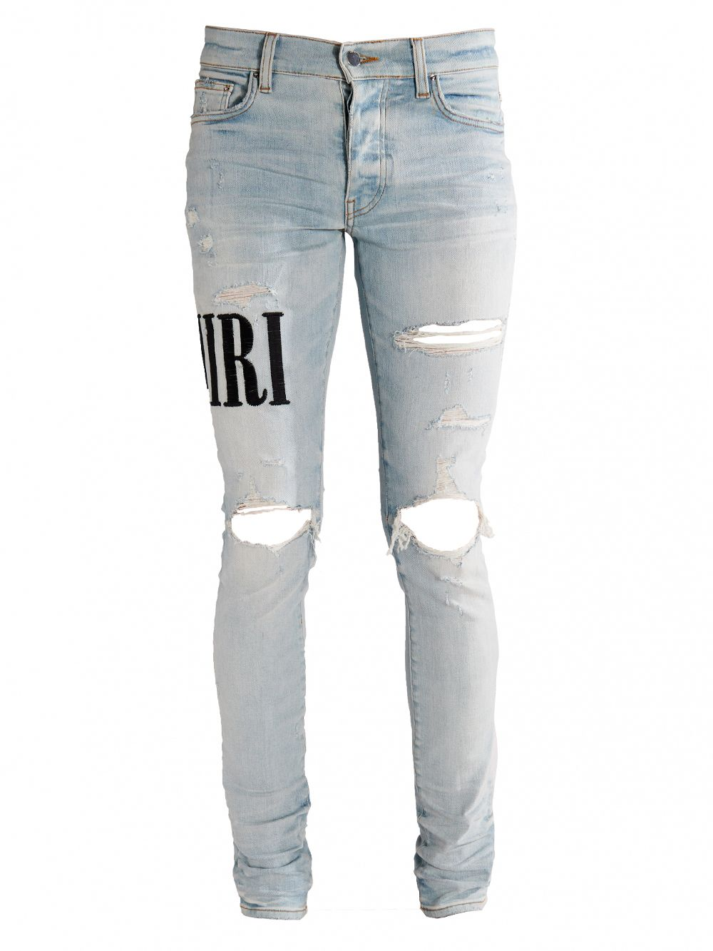 AMIRI DISTRESSED EMBROIDERED LOGO JEANS