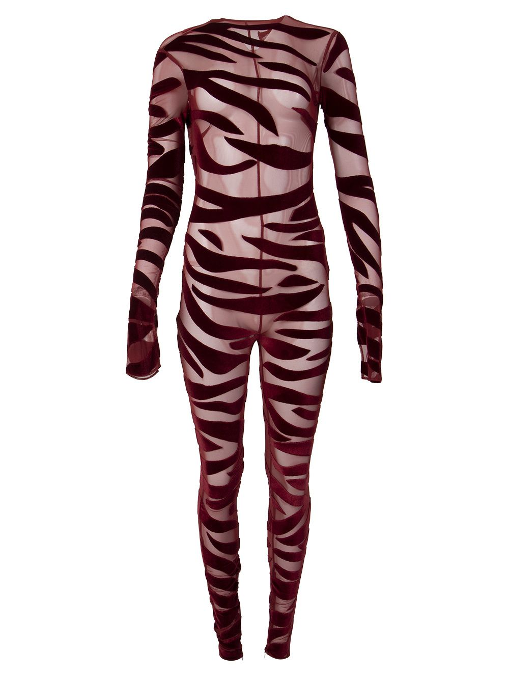 Tiger Print Catsuit Oxblood Red