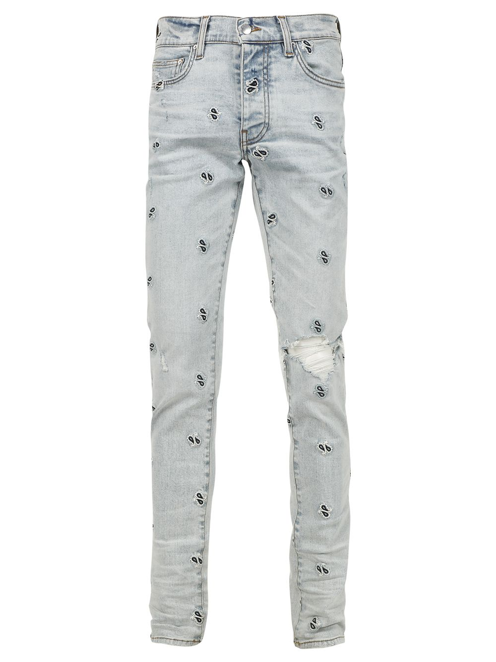 Embroidered Paisley Broken Jean Blue
