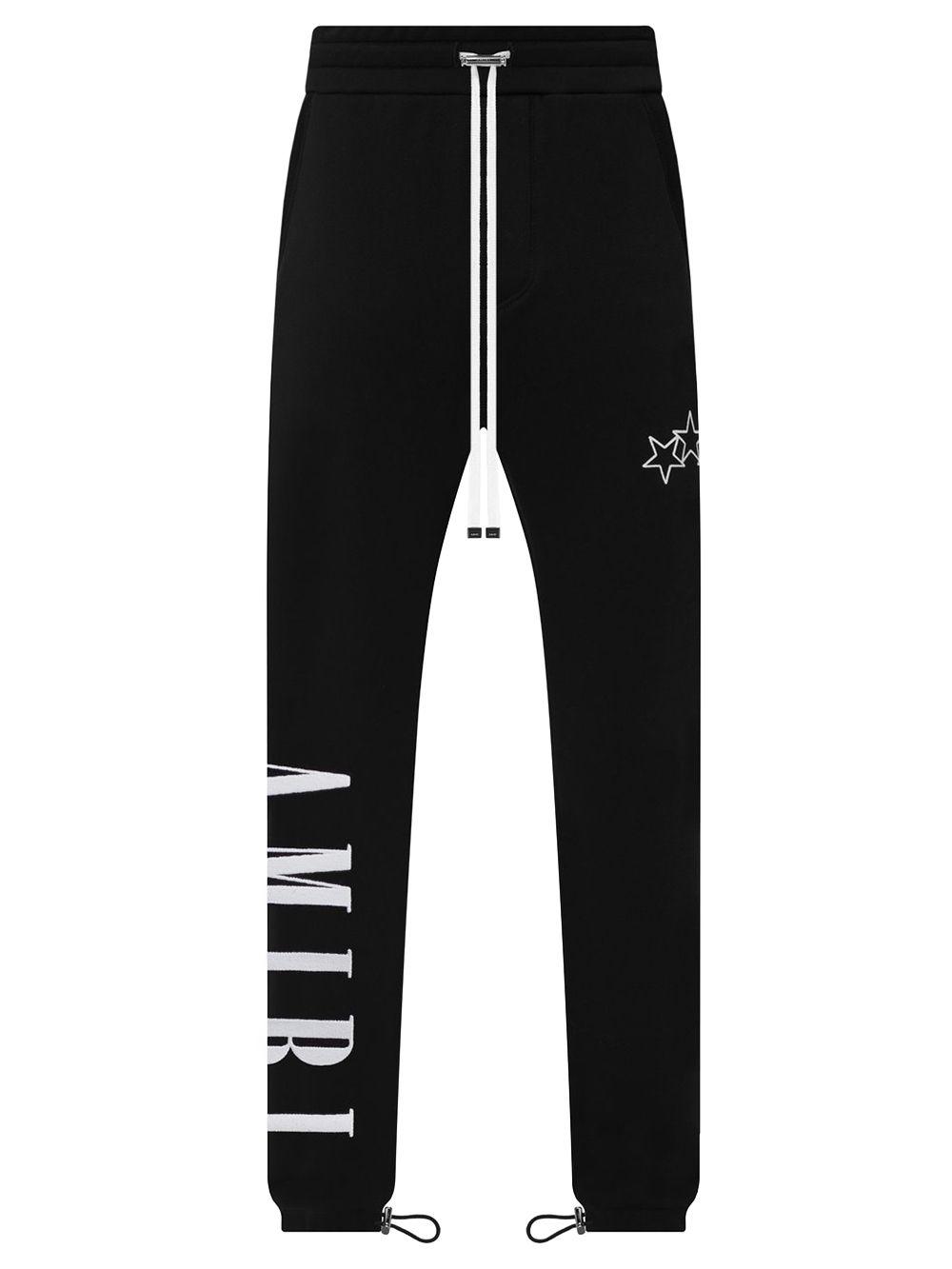 Vertical Logo Crack Ink Sweatpants Black