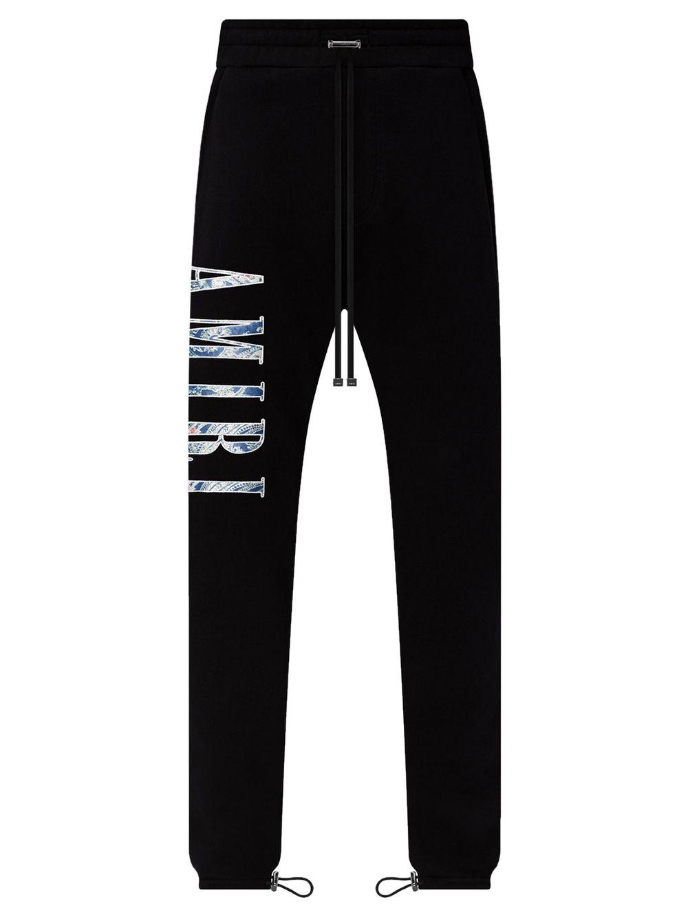 Paisley Logo Applique Sweatpants Black