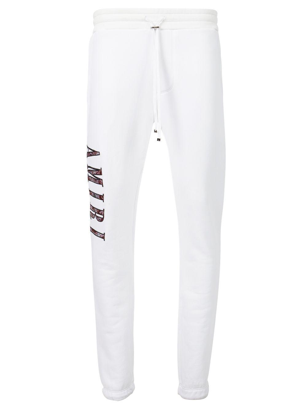 Paisley Logo Applique Sweatpants White