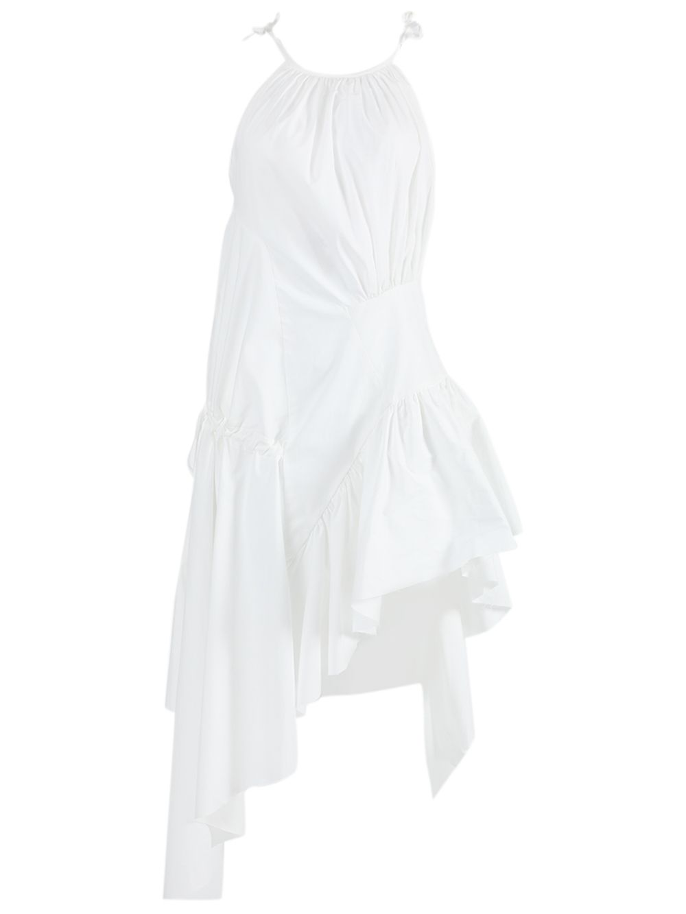 Marques' Almeida WHITE GATHERED ASYMMETRIC DRESS