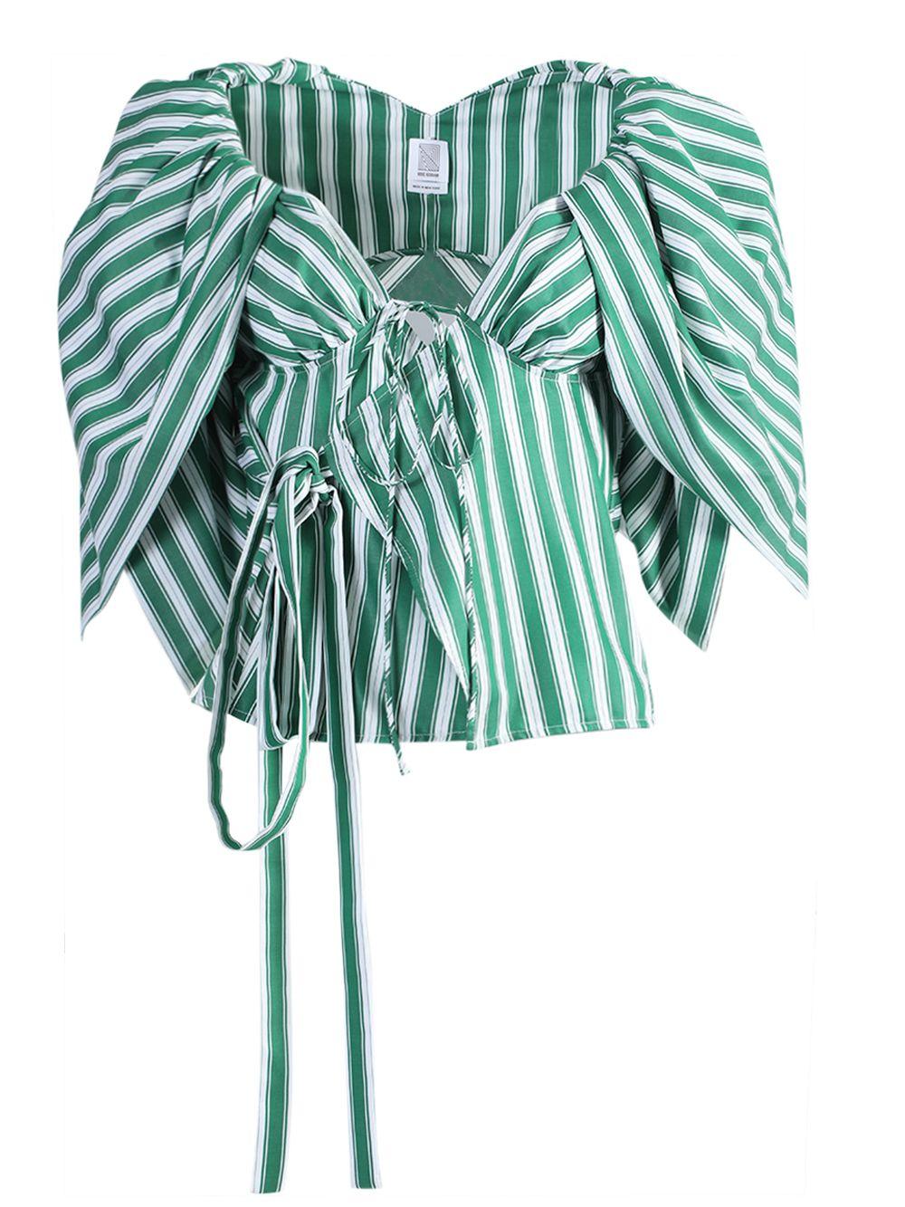 Rosie Assoulin Twisty Puff Sleeve Top In Green