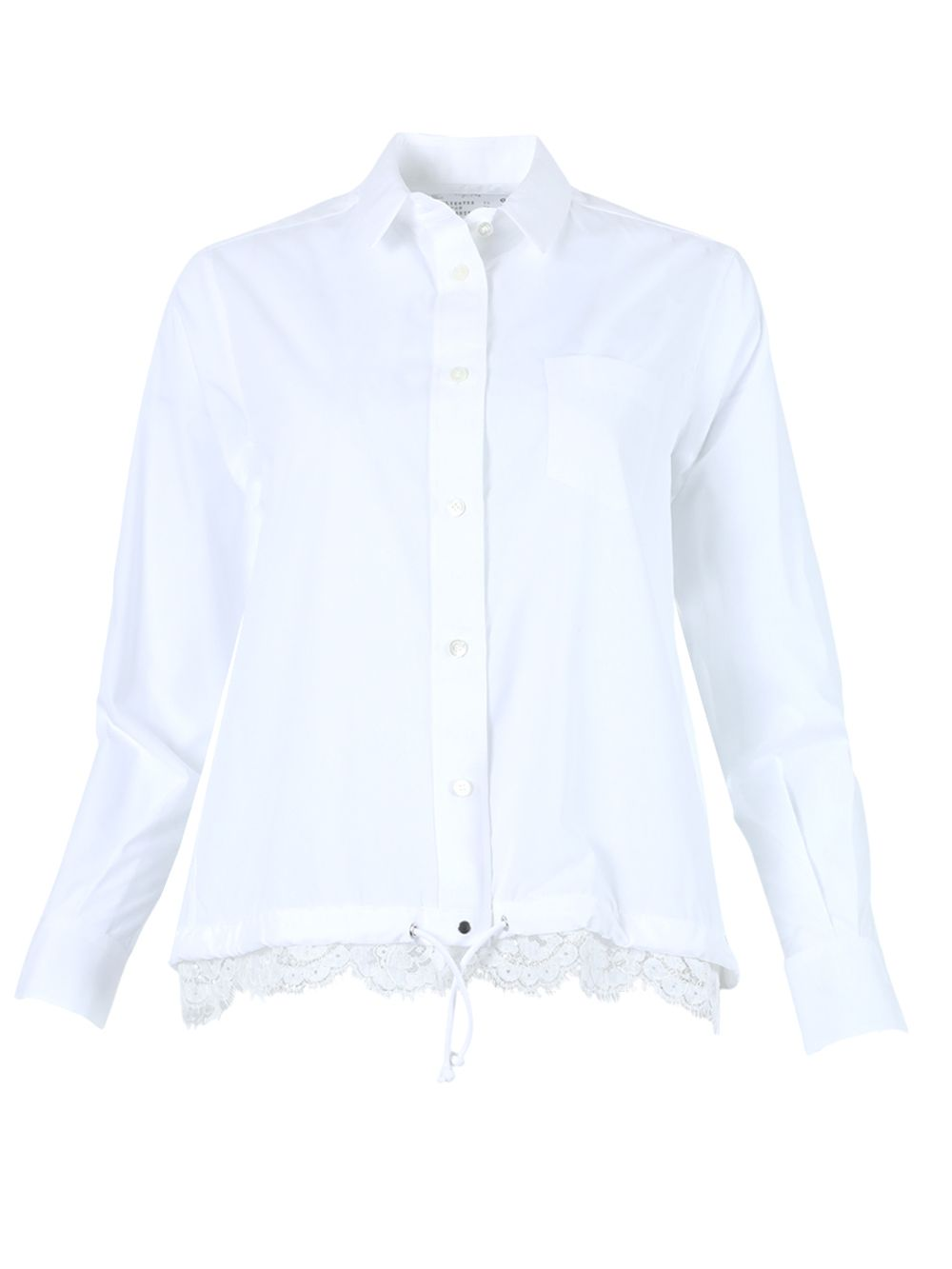 Sacai WHITE POPLIN LACE SHIRT