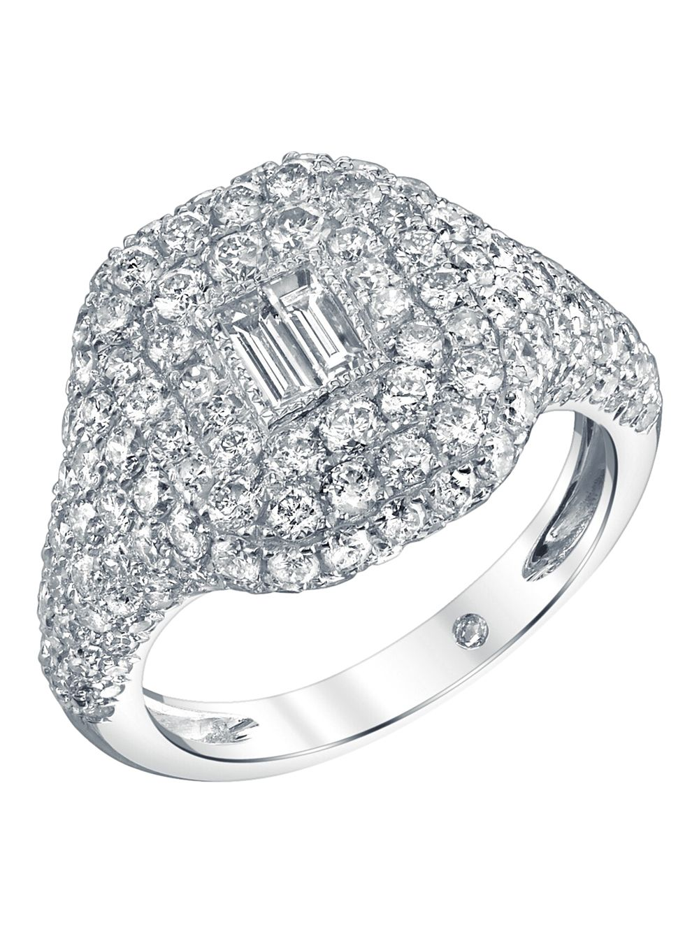 Shay 18K WHITE GOLD PAVÉ DIAMOND BAGUETTE PINKY RING
