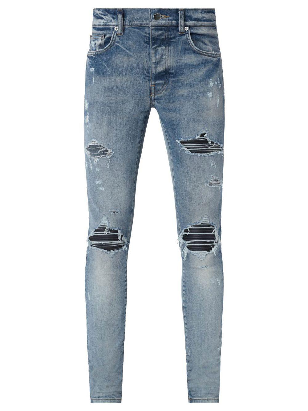 Distressed Leather Knee Mx1 Jeans Clay Indigo Blue