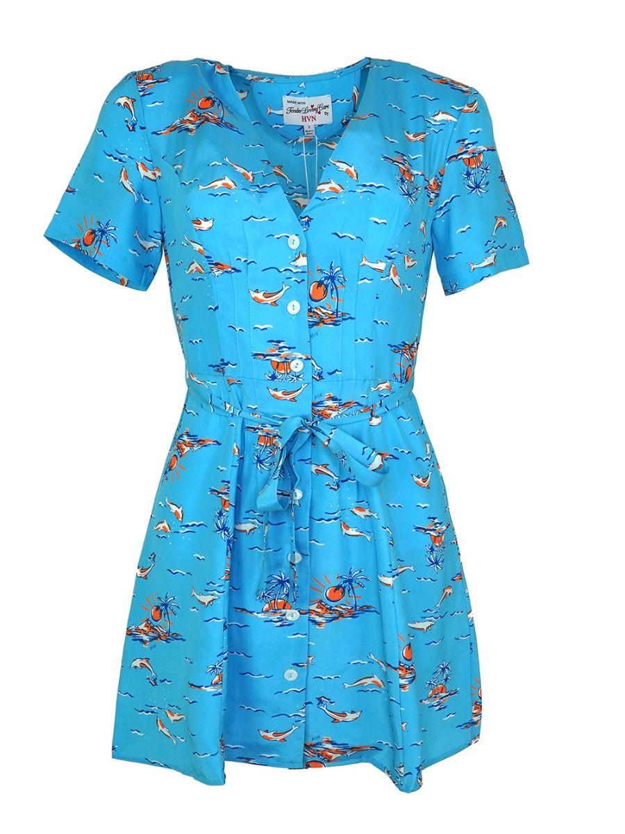 Hvn MINI ROSEMARY DOLPHIN PRINT SILK DRESS